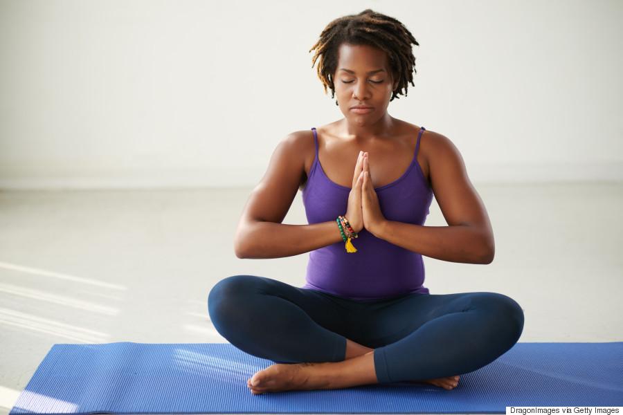 black woman yoga