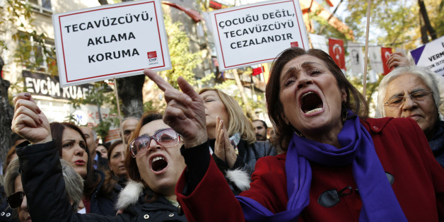 ANKARA, TURKEY - 2016/11/19: Turkish women protested against the government for a draft law about the remission of some people imprisoned for under aged rape. The Turkish government propose to set aside the convictions of men imprisoned for child sex assaults if they marry their victim with the consent of the family. (Photo by Basin Foto Ajansi/LightRocket via Getty Images)