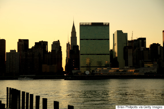 united nations sunset new york