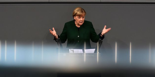 German Chancellor Angela Merkel gives a speech during a session at the Bundestag (lower house of parliament) on November 23, 2016 in Berlin.