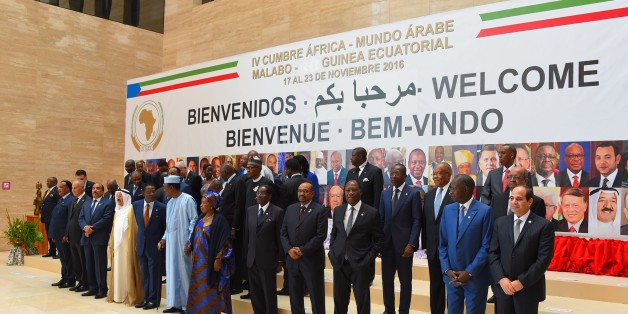 MALABO, EQUATORIAL GUINEA - NOVEMBER 23: Leaders pose for a family photo before the opening session of the 4th Arab-African Summit in Malabo, Equatorial Guinea on November 23, 2016. (Photo by Pool / Egyptian Presidency/Anadolu Agency/Getty Images)