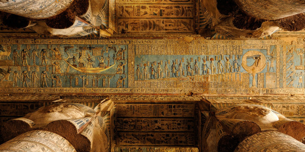 Columns With Hathor Capitals In The Outer Hypostyle Hall Of The Temple Of Hathor, Dendera