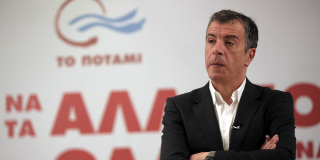 Stavros Theodorakis, leader of the political party To Potami (The River) talks during a news conference in central Athens, Wednesday, Jan. 21, 2015. To Potami was founded last February by Theodorakis, a Greek popular TV journalist. Weekend opinion polls showed Potami will be the third party.Greek voters go to the polls on Sunday as the popular left-wing Syriza party is poised to defeat conservative Prime Minister Antonis Samaras according the last opinion polls. (AP Photo/Lefteris Pitarakis)