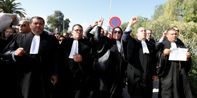 Tunisian lawyers demonstrate against the government's proposed new taxes outside parliament in Tunis, Tunisia November 23, 2016. REUTERS/Zoubeir Souissi