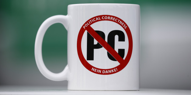 A mug with text 'Political correctness - No thank you!' is pictured at the congress of the anti-immigration party Alternative for Germany (AfD) in Stuttgart, Germany, April 30, 2016.  REUTERS/Wolfgang Rattay