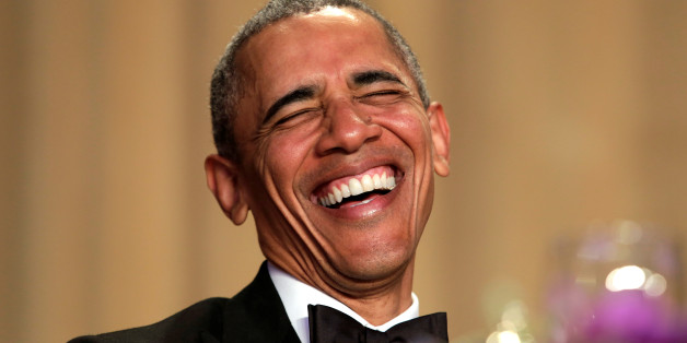 U.S. President Barack Obama laughs at the White House Correspondents' Association annual dinner in Washington, U.S., April 30, 2016. REUTERS/Yuri Gripas