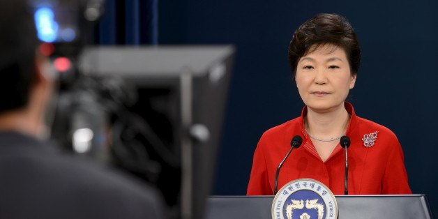 """South Korea's President Park Geun-hye delivers a speech at the presidential Blue House in Seoul August 6, 2015. Park called on Thursday for """"major sugery"""" on the economy, which faces slowing growth and increasing challenges as she approaches the half-way point of her single five-year term.  REUTERS/Ed Jones/Pool"""