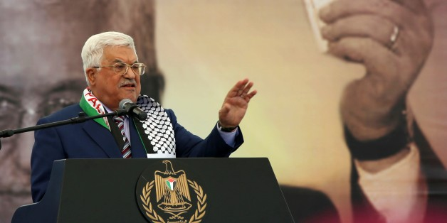 RAMALLAH, WEST BANK - NOVEMBER 10: Palestinian President Mahmoud Abbas delivers a speech during a commemoration ceremony held for the 12th death anniversary of the Palestinian leader Yasser Arafat in Ramallah, West Bank on November 10, 2016. (Photo by Shadi Hatem/Anadolu Agency/Getty Images)