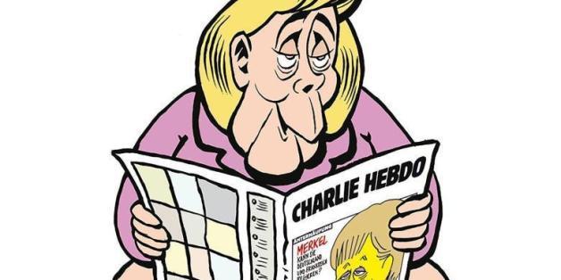 """""""Charlie Hebdo"""" zeigt Bundeskanzlerin Angela Merkel mit einer Ausgabe der Satire-Zeitschrift auf dem Klo."""