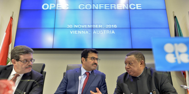 OPEC Secretary General Nigerian Mohammed Barkindo (R), the Chairman of the OPEC Board of Governors Algerian Mohamed Hamel (L) and the President of the Organisation of Petroleum Exporting Countries (OPEC) Mohammed bin Saleh al-Sada (C) attend a meeting of the Organization of the Petroleum Exporting Countries, OPEC, at the OPEC headquarters in Vienna, Austria on November 30, 2016.OPEC sought to defy expectations and finalise a deal reducing its oil output for the first time in eight years, in an e
