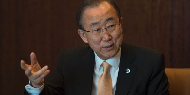 The United Nations Secretary General Ban Ki-moon answers questions during an interview with Agence France-Presse November 11, 2016 at the United Nations in New York. / AFP / DON EMMERT        (Photo credit should read DON EMMERT/AFP/Getty Images)