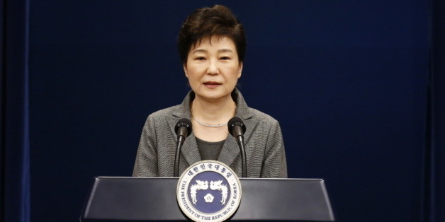 South Korean President Park Geun-Hye speaks during an address to the nation, at the presidential Blue House in Seoul on November 29, 2016. South Korea's scandal-hit President Park Geun-Hye said Tuesday she was willing to stand down early and would let parliament decide on her fate. / AFP / AFP AND POOL / JEON HEON-KYUN        (Photo credit should read JEON HEON-KYUN/AFP/Getty Images)