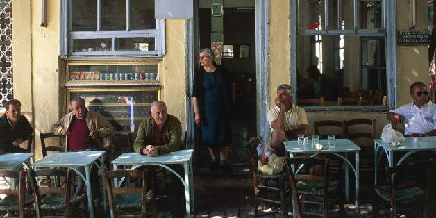 Group of people sitting in a coffee shop, Agiassos, Lesbos, Aegean Islands, Northern Aegean, Greece