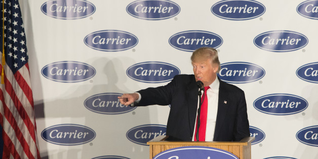 INDIANAPOLIS, IN - DECEMBER 01:  President-elect Donald Trump speaks to workers at Carrier air conditioning and heating on December 1, 2016 in Indianapolis, Indiana.  (Photo by Tasos Katopodis/Getty Images)
