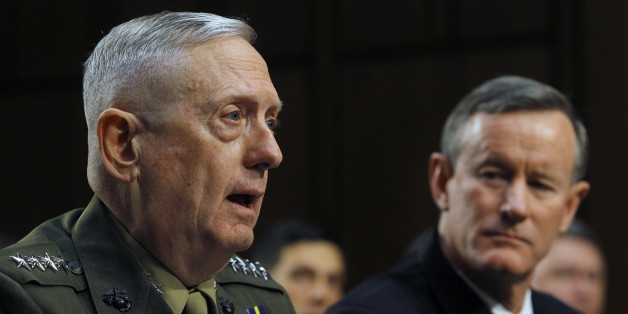 U.S. Marine Corps General James Mattis (L) and Navy Admiral William McRaven (R) testify at the Senate Armed Services Committee in Washington March 5, 2013 in regard to the Defense Authorization Request for fiscal year 2014. REUTERS/Gary Cameron    (UNITED STATES - Tags: MILITARY POLITICS)