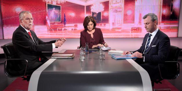 Alexander Van der Bellen und Norbert Hofer beim letzten TV-Duell vor der Wahl