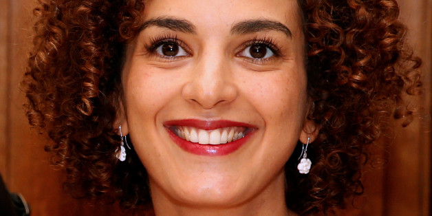 """Moroccan-French author Leila Slimani reacts at the Drouant restaurant after she received the French literary prize Prix Goncourt for her novel """"Chanson douce"""" (Sweet Song), in Paris, France, November 3, 2016. . REUTERS/Jacky Naegelen"""
