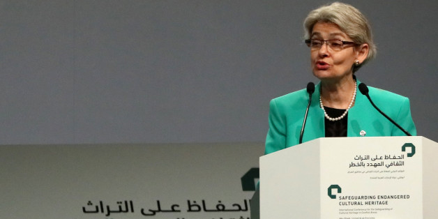 Director-General of the UN Educational, Scientific and Cultural Organization (UNESCO), Irina Bokova speaks during the opening ceremony of a conference gathering officials and experts from around the world gather to discuss forming a global alliance to protect endangered heritage sites on  December 2, 2016 in Abu Dhabi.    / AFP / KARIM SAHIB        (Photo credit should read KARIM SAHIB/AFP/Getty Images)