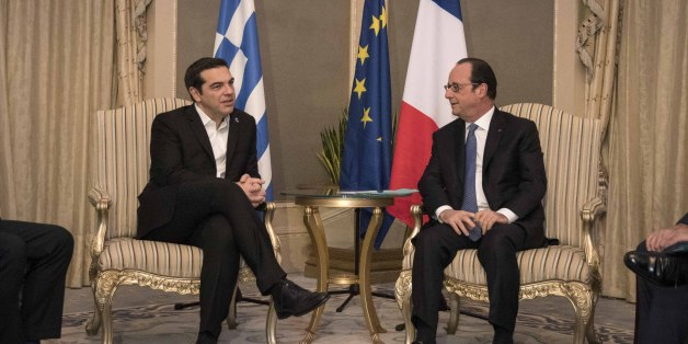Greek PM A. Tsipras (R) wellcomes Fernando Eguidazu. Summit of the European Unions Mediterranean countries  in Athens, at Zappion hall, on Friday September 9, 2016. The leaders of France, Cyprus, Italy, Spain, Portugal and Malta meet on the initiative of Greek Prime Minister Alexis Tsipras, to work out proposals for their own vision of European structure and EU policies.  (Photo by Panayiotis Tzamaros/NurPhoto via Getty Images)