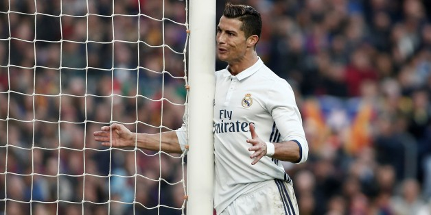 BARCELONA, SPAIN - DECEMBER 03 : Cristiano Ronaldo of Real Madrid reacts during the La Liga football match between FC Barcelona and Real Madrid CF at Camp Nou Stadium in Barcelona, Spain on December 03, 2016. (Photo by Burak Akbulut/Anadolu Agency/Getty Images)