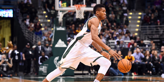 MILWAUKEE, WI - NOVEMBER 29:  Giannis Antetokounmpo #34 of the Milwaukee Bucks handles the ball during a game against the Cleveland Cavaliers at the BMO Harris Bradley Center on November 29, 2016 in Milwaukee, Wisconsin.  NOTE TO USER: User expressly acknowledges and agrees that, by downloading and or using this photograph, User is consenting to the terms and conditions of the Getty Images License Agreement.  (Photo by Stacy Revere/Getty Images)