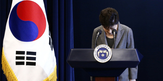 South Korean President Park Geun-Hye bows during an address to the nation, at the presidential Blue House in Seoul, South Korea, 29 November 2016. REUTERS/Jeon Heon-Kyun/Pool