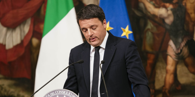 The Prime Minister of Italy Matteo Renzi speaks at Palazzo Chigi admitting his defeat in the referendum vote and promising to resign. December 5, 2016 Rome, Italy. (Photo by Jacopo Landi/NurPhoto via Getty Images)