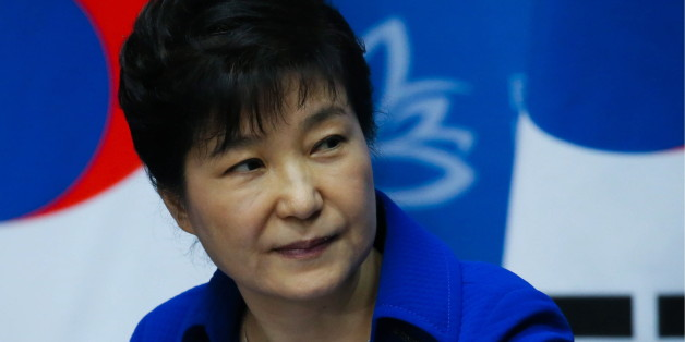 VLADIVOSTOK, RUSSIA - SEPTEMBER 3, 2016: South Korea's President Park Geun-hye gives a press conference following her meeting with Russia's President Vladimir Putin on the sidelines of the 2016 Eastern Economic Forum at Far Eastern Federal University on Russky Island. Sergei Savostyanov/TASS Host Photo Agency (Photo by Sergei Savostyanov\TASS via Getty Images)