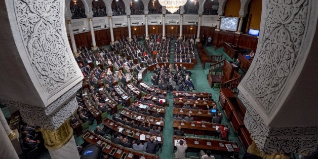 In December 2nd, 2014: the 1st meeting of 217 members of the Assembly of the people representatives ( ARP) elected on October 26th, a ballot taken away by the party Nidaa Toun��s ( 86 elected representatives) in front of the Islamists of Ennahda ( 69 members of parliament ), members of the majority party until then. This first meeting is chaired by the historic activist Ali Ben Salem, as dean of members of parliament of this new assembly (Photo by Nicolas Fauqu��/Corbis via Getty Images)