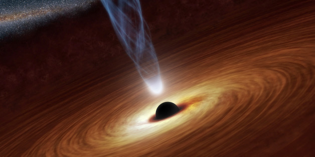 A supermassive black hole with millions to billions times the mass of our sun is seen in an undated NASA artist's concept illustration. In this illustration, the supermassive black hole at the center is surrounded by matter flowing onto the black hole in what is termed an accretion disk. This disk forms as the dust and gas in the galaxy falls onto the hole, attracted by its gravity. Also shown is an outflowing jet of energetic particles, believed to be powered by the black hole's spin, according to a NASA news release.  REUTERS/NASA/JPL-Caltech/Handout  THIS IMAGE HAS BEEN SUPPLIED BY A THIRD PARTY. IT IS DISTRIBUTED, EXACTLY AS RECEIVED BY REUTERS, AS A SERVICE TO CLIENTS. FOR EDITORIAL USE ONLY. NOT FOR SALE FOR MARKETING OR ADVERTISING CAMPAIGNS