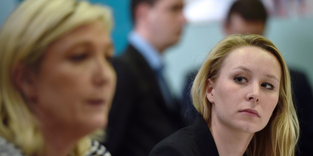 France's far-right National Front (FN) party MP Marion Marechal Le Pen (R) gives a press conference with the party's leader Marine Le Pen on March 17, 2015 in Le Pontet, southern France, ahead of the March 22 and 29 departemental local elections. AFP PHOTO / ANNE-CHRISTINE POUJOULAT        (Photo credit should read ANNE-CHRISTINE POUJOULAT/AFP/Getty Images)