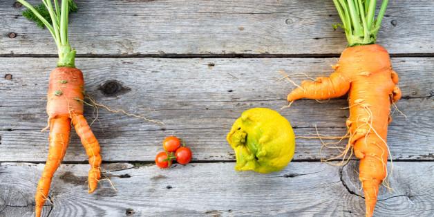 Trendy organic carrot, tomatos, leek and lemob from home garden bed on barn wood table, Australian grown.