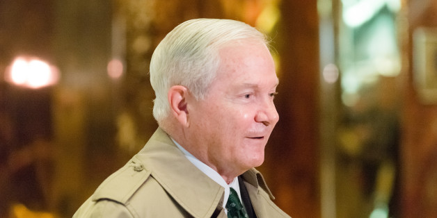 TRUMP TOWER, NEW YORK, NY, UNITED STATES - 2016/12/02: Former Secretary of Defense Robert Gates is seen in Trump Tower's lobby following his meeting with President-elect Donald Trump.  Members of President-elect Donald J. Trump's transition team and invited guests were seen passing through the lobby of Trump Tower in New York City where Mr. Trump is holding an ongoing series of meetings regarding the composition of his Presidential cabinet. (Photo by Albin Lohr-Jones/Pacific Press/LightRocket vi