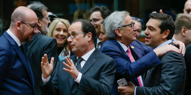 (L-R) Belgium's Prime Minister Charles Michel, France's President Francois Hollande, European Commission President Jean Claude Juncker and Greece's Prime Minister Alexis Tsipras attend a EU Summit at the European Council headquarters in Brussels, Belgium December 15, 2016.   REUTERS/Yves Herman     TPX IMAGES OF THE DAY