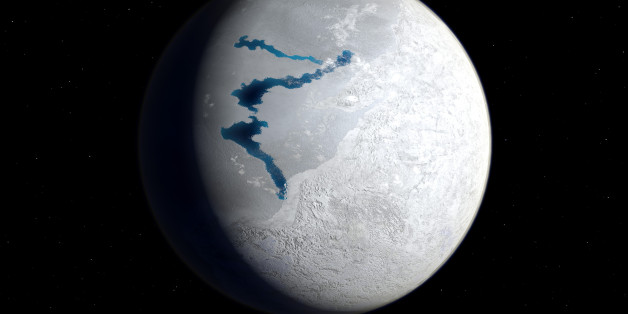 This is how the Earth may have appeared about 650 million years ago during a period when snow and ice may have covered most, if not all, of the Earth's surface and oceans. This image suggests the Earth's appearance during the Marinoan glaciation from 650 to 630 million years ago. The southern and eastern hemispheres are dominated by glacier-covered land masses while the opposing hemisphere is frozen ocean save for a few areas of exposed liquid water, AKA refugia for the Earth's surviving soft-bodied multicellular organisms.  In addition to the Marinoan glaciation there may have been at least two, and possibly three previous Proterozoic glacial periods going back to two billion years ago. The causes of these snowball periods are unknown but may have been due to massive volcanic eruptions, massive meteoritic impacts (both resulting in global sun-reflecting ash clouds), or variance's in the Earth's orbit.