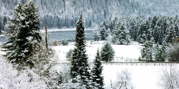 A winter scene in the altai region of russia. (Photo by: Sovfoto/UIG via Getty Images)