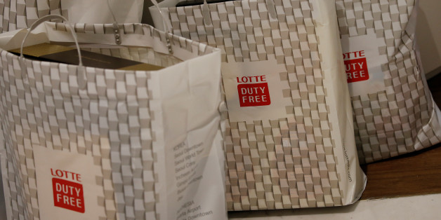 Shopping bags are seen at a Lotte duty free shop in Seoul, South Korea, December 13, 2016. Picture taken December 13, 2016. REUTERS/Kim Hong-Ji