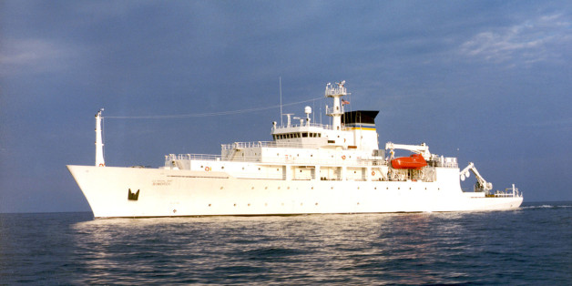 The oceanographic survey ship, USNS Bowditch, is shown September 20, 2002, which deployed an underwater drone seized by a Chinese Navy warship in international waters in South China Sea, December 16, 2016.   Courtesy U.S. Navy/Handout via REUTERS  ATTENTION EDITORS - THIS IMAGE WAS PROVIDED BY A THIRD PARTY. EDITORIAL USE ONLY.