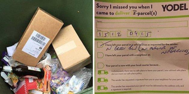Ein Paketbote warf Weihnachtsgeschenke in den Müll - und hinterließ eine Notiz