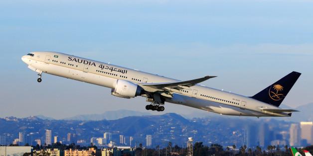 Los Angeles, CA, USA - Jan 02, 2016:Saudi Boeing 777-300ER (Registration No. HZ-AK19) taking off at LAX Airport.