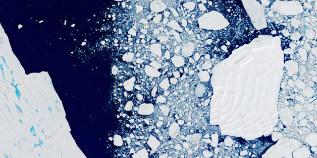ANTARCTICA - FEBRUARY 2000: The Larsen B Ice Shelf, Antarctica. Global warming and climate change eventually led to the collapse of the Larsen B Ice Shelf in Antarctica during 2002. Satellite image taken on 21 February 2000. Photo by USGS/NASA Landsat data/Orbital Horizon/Gallo Images/Getty Images)