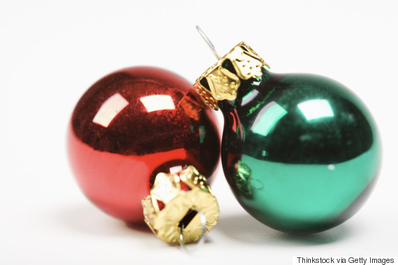 christmas ball two red green