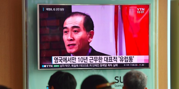 People watch a television news broadcast showing file footage of Thae Yong-Ho, North Korea's deputy ambassador to Britain, at a railway station in Seoul on August 18, 2016.South Korea said on August 17 that North Korea's deputy ambassador to Britain had defected to Seoul, in a rare and damaging loss of diplomatic face for Pyongyang. / AFP / JUNG YEON-JE        (Photo credit should read JUNG YEON-JE/AFP/Getty Images)