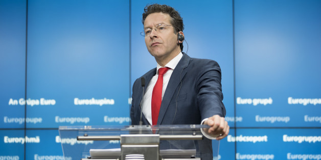 Jeroen Dijsselbloem, Dutch finance minister and head of the group of euro-area finance ministers, speaks during a news conference following a Eurogroup meeting of European finance ministers in Brussels, Belgium, on Monday, Dec. 5, 2016. Since Greece's debt triggered a wave of shocks that spooked investors in Europe more than six years ago, EU governments -- led by Angela Merkel's Germany, the bloc's largest economy -- have been pursuing an austerity-first agenda; not only raising taxes, slashing spending and striving to narrow deficits themselves but demanding other nations do likewise. Photographer: Jasper Juinen/Bloomberg via Getty Images