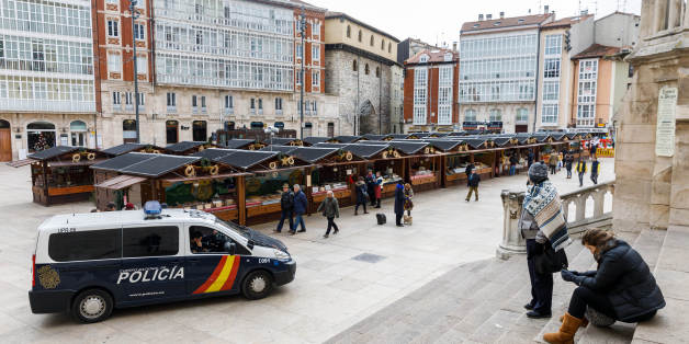 A police car patrols at the Christmas market in Burgos on December 21, 2016. Twelve people were killed when the Polish-registered articulated truck, laden with steel beams, slammed into the crowded holiday market late on December 19, 2016 in Berlin, smashing wooden stalls and crushing victims. The scenes revived nightmarish memories of the July 14 truck assault in the French Riviera city of Nice, where 86 people were killed by a Tunisian Islamist.  / AFP / CESAR MANSO        (Photo credit should read CESAR MANSO/AFP/Getty Images)