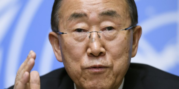 UN Secretary-General Ban Ki-moon gestures during a press conference on October 3, 2016 at the UN Offices in Geneva. / AFP / FABRICE COFFRINI        (Photo credit should read FABRICE COFFRINI/AFP/Getty Images)