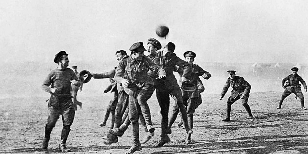 Photograph of soldiers playing football in No-Man's Land during the Christmas Truce. Dated 1914. (Photo by Universal History Archive/UIG via Getty Images)