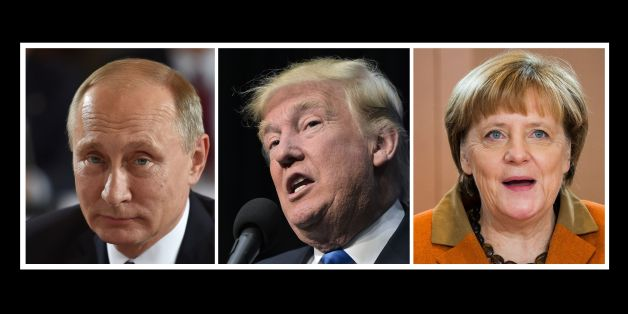 (COMBO)This combination of file photos shows L-R: Russian President Vladimir Putin on October 19, 2016 in Berlin, US President-elect Donald Trump in Sioux City, Iowa on November 6, 2016 and German Chancellor Angela Merkel in Berlin on December 14, 2016.