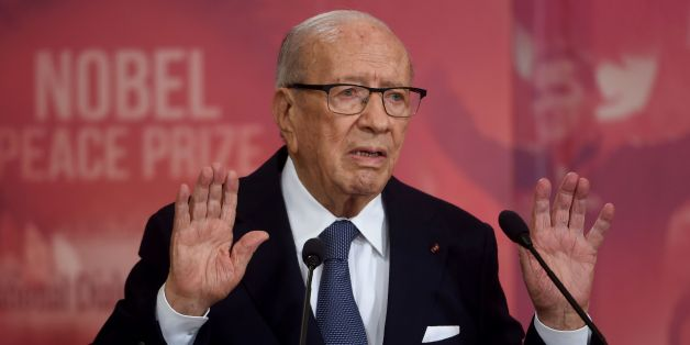 Tunisian President Beji Caid Essebsi gives a speech during a ceremony for the signing of documents outlining the roadmap for the formation of a national unity government in Tunisia at the Carthage Palace in Carthage, some 15 kilometres on the outskirts of Tunis, on July 13, 2016. The pact summarizes the priorities of the country's future government including; combating terrorism and corruption, boosting development and youth employment, achieving administrative reform and implementing the policy of the city and local authorities.  / AFP / FETHI BELAID        (Photo credit should read FETHI BELAID/AFP/Getty Images)