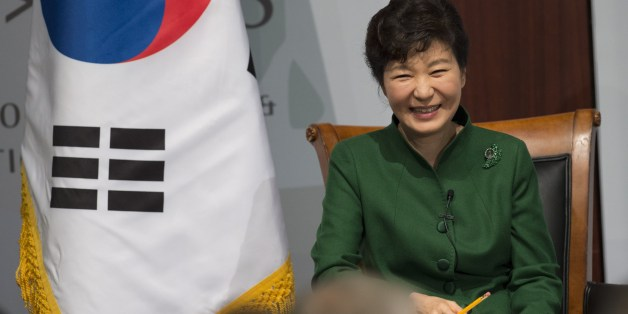 South Korean President Park Geun-hye answers questions at the Center for Strategic and International Studies (CSIS) in Washington, DC, October 15, 2015. AFP PHOTO / SAUL LOEB        (Photo credit should read SAUL LOEB/AFP/Getty Images)
